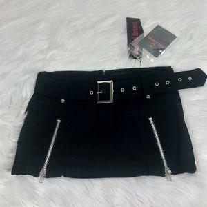 NWT Mini Skirt Small Black Zipper Punk Rock Emo